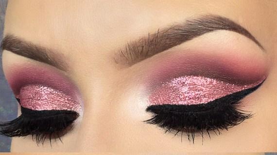 Pink-Cut-Crease-makeup-Glitter-eyes-makeup-cosmetic-tutorials